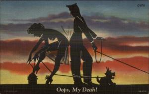 Sexy Nude Silhouette - Woman & Man Walking Dog  Curt Teich Comic Postcard