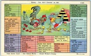 RAY WALTERS Postcard Chickens Checklist Curteich Linen CHECK MARK COMICS C-221