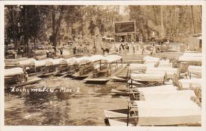 Mexico Xochimilco Canal Scene Showing Boats Real Photo