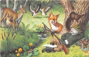 F60/ Alfred Mainzer Dressed Cats Postcard c1940s Hunting Deer Rifle 20