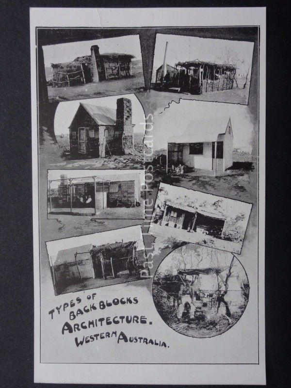Western Australia TYPES OF BACK BLOCKS ARCHITECTURE Old Postcard by Western Mail