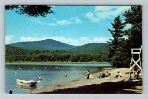 Lewey Lake NY- New York, Bathing Spot Lewey Lake, Adirondacks, Chrome Postcard