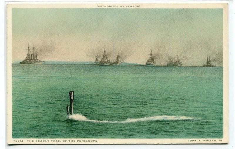 Submarine Periscope Deadly Trail Navy Ship Convoy 1910c Phostint postcard