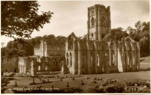 UK - England, Fountains Abbey from the South East.  *RPPC
