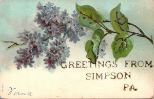 Pennsylvania Greetings From Simpson With Flowers