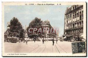 Old Postcard Lyon Place de la Republique