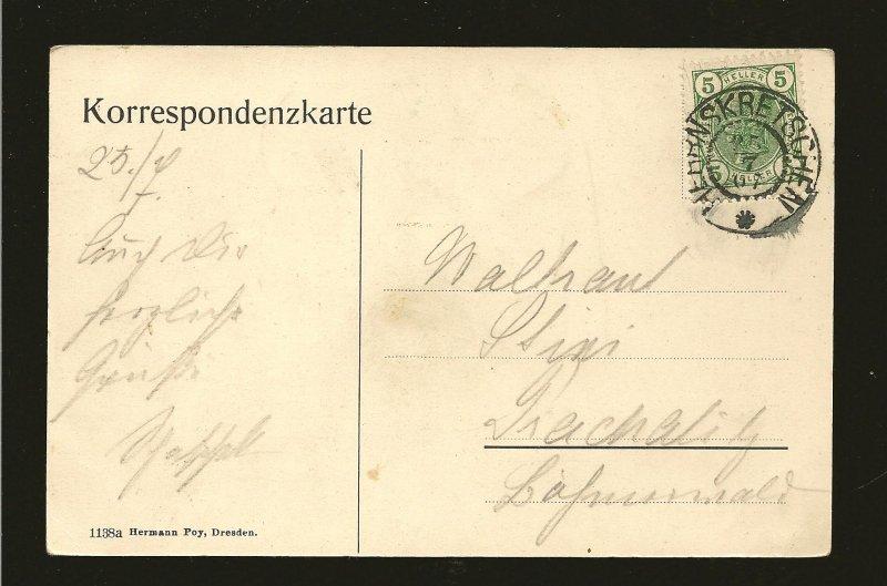 Austria Postmark 1907 Bohm Schweiz Austria Hermann Pay Dresden Postcard