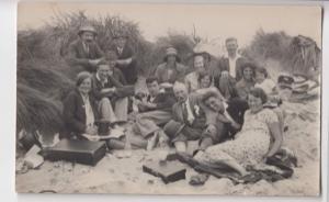 Social History; RP PPC, Unposted Short Family Group Photo, Sandbanks 1932