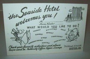 Seaside Hotel Atlantic City Postcard Trade Card New Old Stock Unused Vintage