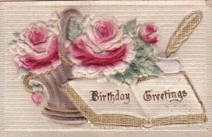 Birthday Greetings Open Book Red Roses Embossed
