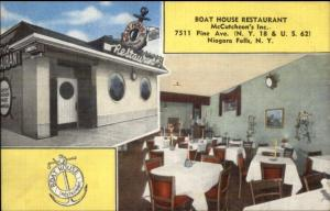 Niagara Falls NY Boat House Restaurant Linen Postcard