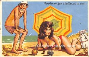 Old Vintage Lawn Bowling Postcard Post Card Maintenant, fais attention ou tu ...