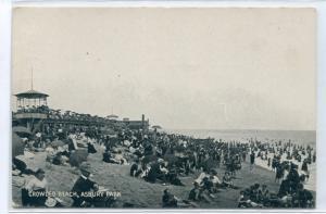 Crowded Beach Asbury Park New Jersey 1907c postcard