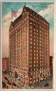 1910s Chicago, Illinois Postcard Masonic TEMPLE Street View HOLD-TO-LIGHT UNUSED