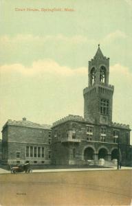Springfield Massachusetts Court House Pre-Linen Postcard, Roadster in Front