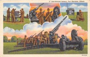 Anti Aircraft Battery 3 inch Guns US Army Fort Sheridan Illinois WWII postcard
