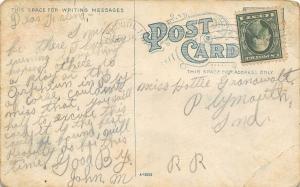 Peru Indiana~Couple Ramble Through Lover's Lane~Postcard c1910 As Is