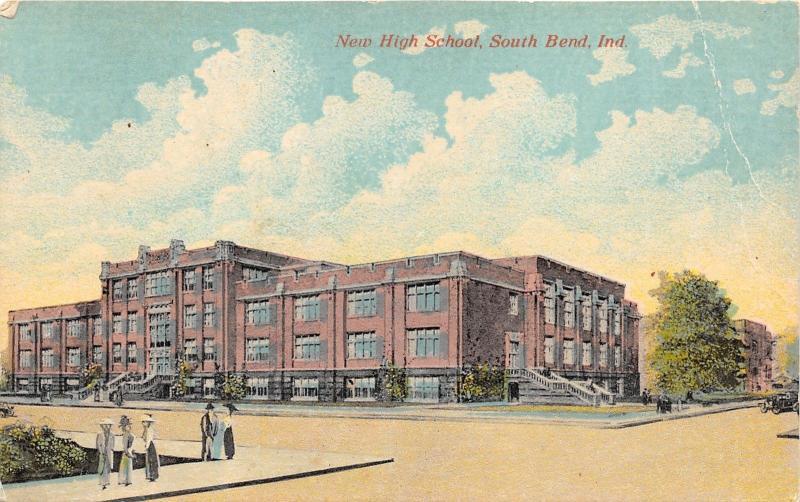 South Bend Indiana~New High School~People on Sidewalk~c1910 Postcard