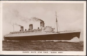 Cunard White Star R.M.S. Queen Mary - Real Photo Post Card