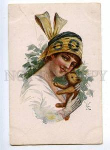 160494 Lady w/ TEDDY BEAR by KUSCHENKO Vintage Color PC