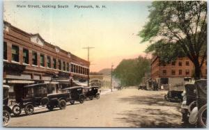 Plymouth, New Hampshire HAND-COLORED Postcard MAIN STREET Hand-Colored 1928