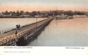 Bathhurst New Brunswick~Village Shoreline~Horse Buggy on Bridge~1910 Postcard