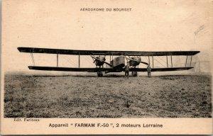 RARE - FRENCH AVIATION POSTCARD - Aerodrome Du Bourget - Farmam F-50
