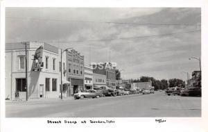 C94/ Gordon Nebraska Ne Real Photo RPPC Postcard c1950s Main St Bank Stores Auto