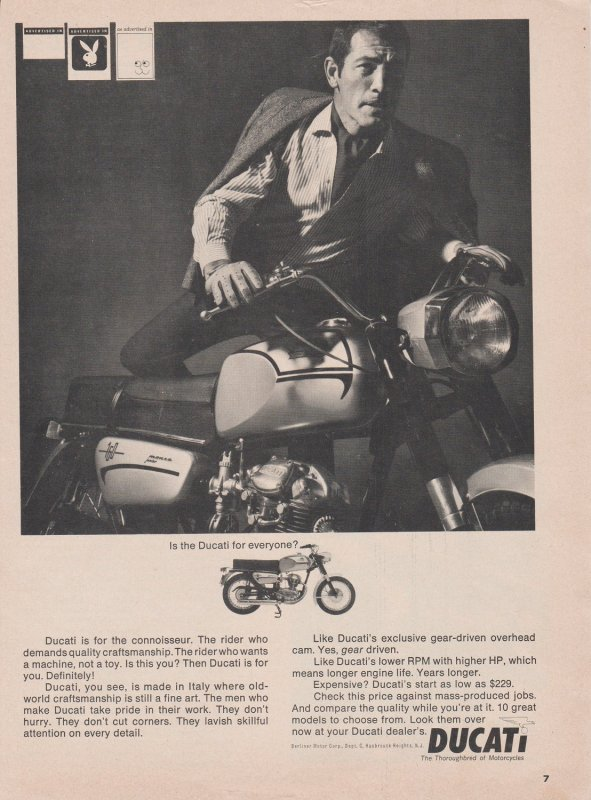 Ducati 160 Monza Jr Motorcycle 1966 Print Ad, Is Ducati for Everyone? Playboy