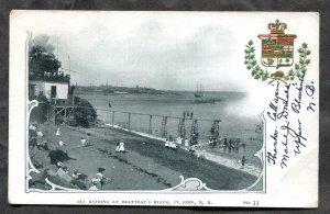 4946 - ST JOHN NB 1906 bathing at Beateay's Beach. Crest. Heraldic. Patriotic