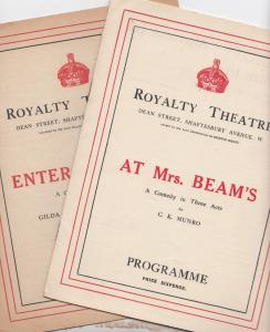At Mrs Beams Enter Madame Comedy Royalty London 2x Theatre Programme s