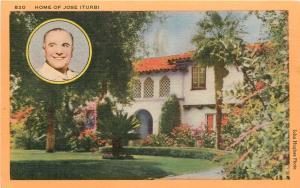 Home of Actor Jose Iturbi 1950's LA Los Angeles CA Postcard