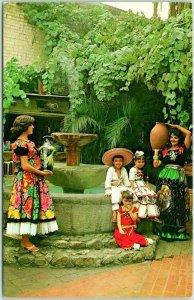 Los Angeles, California Postcard OLVERA STREET SCENE Senoritas at the Fountain