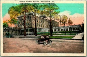 Martinsville, Indiana Postcard COLONIAL MINERAL SPRINGS Street View 1924 Cancel