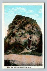 Mackinac Island MI-Michigan, Sugar Loaf Rock, Vintage Postcard