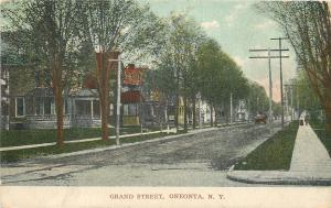 Oneonta New York~Grand Street~Neighborhood Homes~Folks on Sidewalk~1906 PC