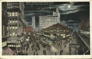 New York, N.Y., Herald Square, Broadway & Sixth Avenue by Night (1910s)