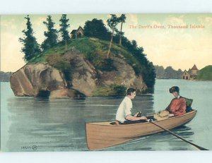 Divided-back ROWBOAT AT DEVILS OVEN Thousand Islands New York NY AD4995