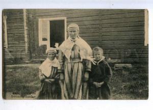 206439 FINLAND Sodankyla lapland family Vintage postcard