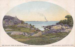 GLOUCESTER, Massacusetts; 1900-1910's; Eastern Point, Ship On The Background