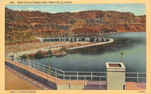 Twin Falls Idaho~Raling Over Twin Falls Power Dam~1933 Postcard