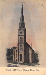 Ripon WI Tall Steeple Leads Way on Evangelical Lutheran Church Portrait 1908