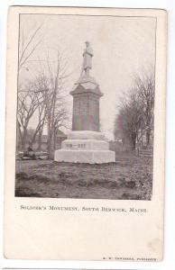 South Berwick ME Soldiers Monument Civil War UDB Postcard