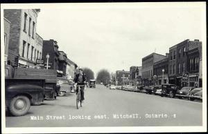 canada, MITCHELL, Ontario, Main Street, Bicycle, Car (1960s) RPPC
