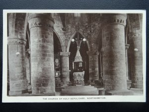 Northampton THE FONT AT CHURCH OF HOLY SEPULCHRE c1916 RP Postcard by C.F.P.N.