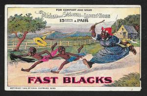 VICTORIAN TRADE CARD Fast Blacks Ladies' Hose Blacks