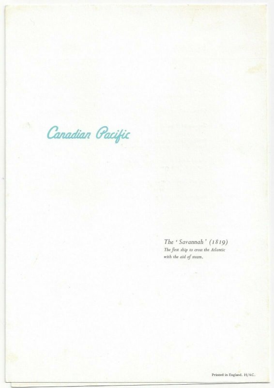 CANADIAN PACIFIC  The 'Savannah', Menu, 1968