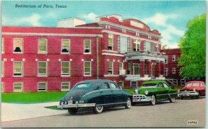 Vintage 1940s PARIS Texas Postcard Sanitarium Building / Street View LINEN