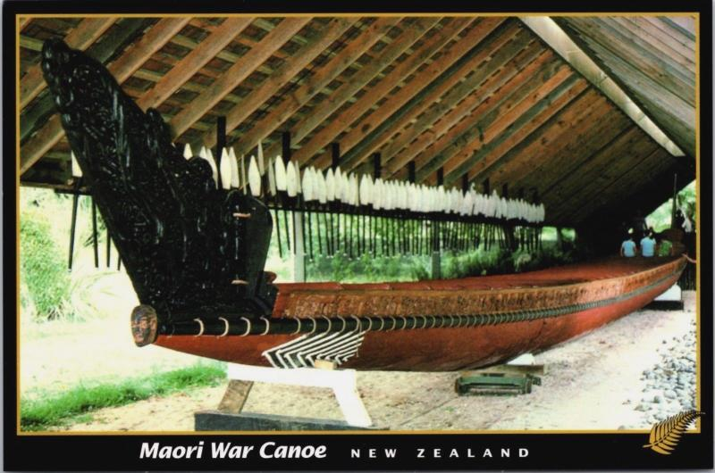 Maori War Warriors Canoe New Zealand NZ Waitangi National Trust Postcard D34