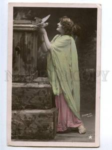 129263 Lady NYMPH & PIGEON vintage PHOTO STEBBING tinted PC